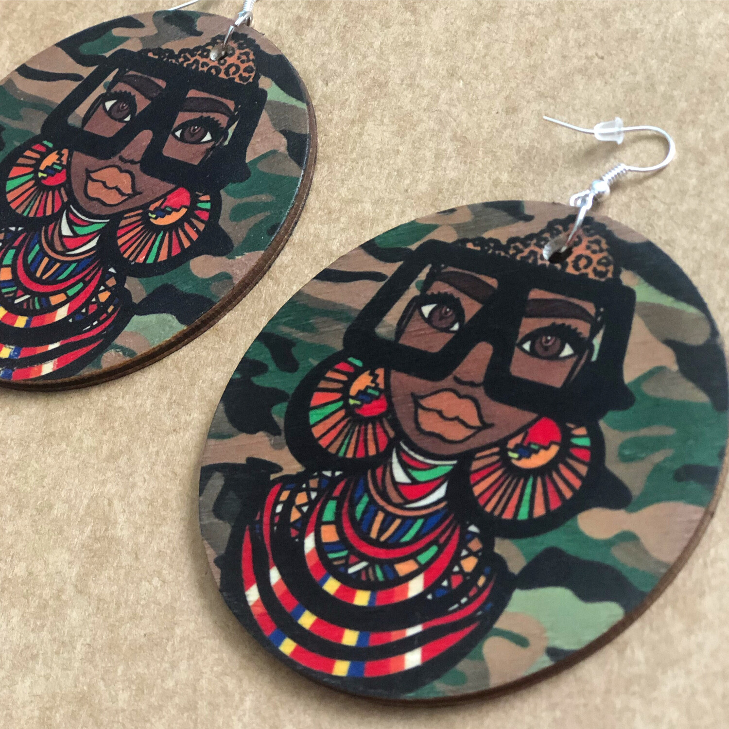 Maasai Coco Army Jumbo Circle Earrings