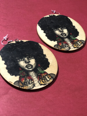 No Justice No Peace Fro Jumbo Circle Earrings