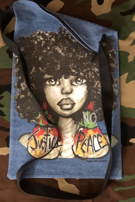 No Justice No Peace Fro Denim Crossbody Tote