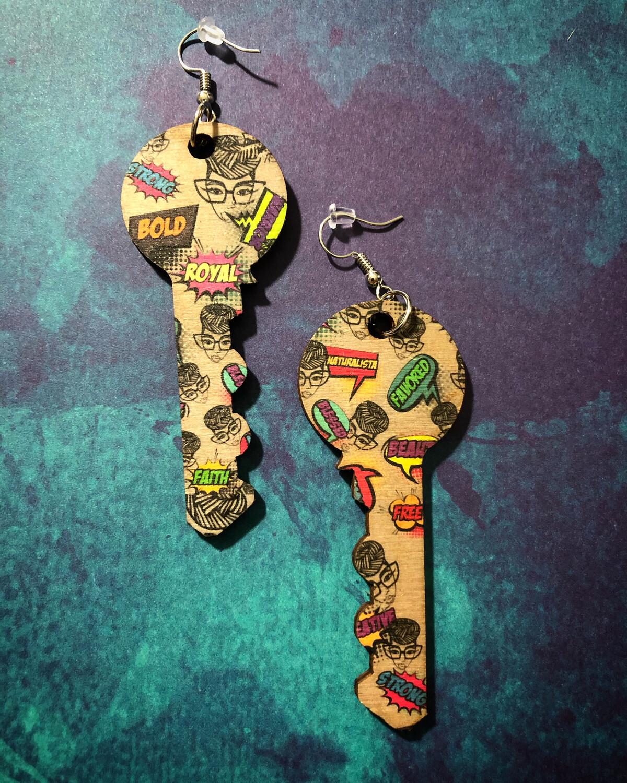 Genius Pop Art Key Earrings