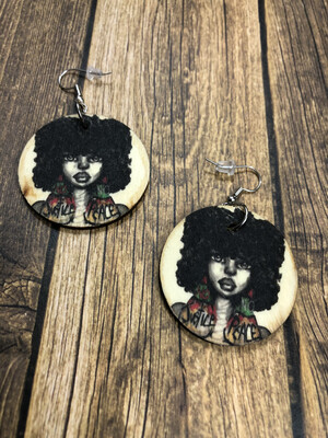 No Justice No Peace Fro Small Circle Earrings