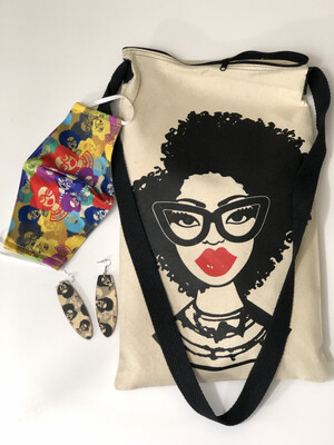 Fashion Fro Earring, Mask & Tote Set
