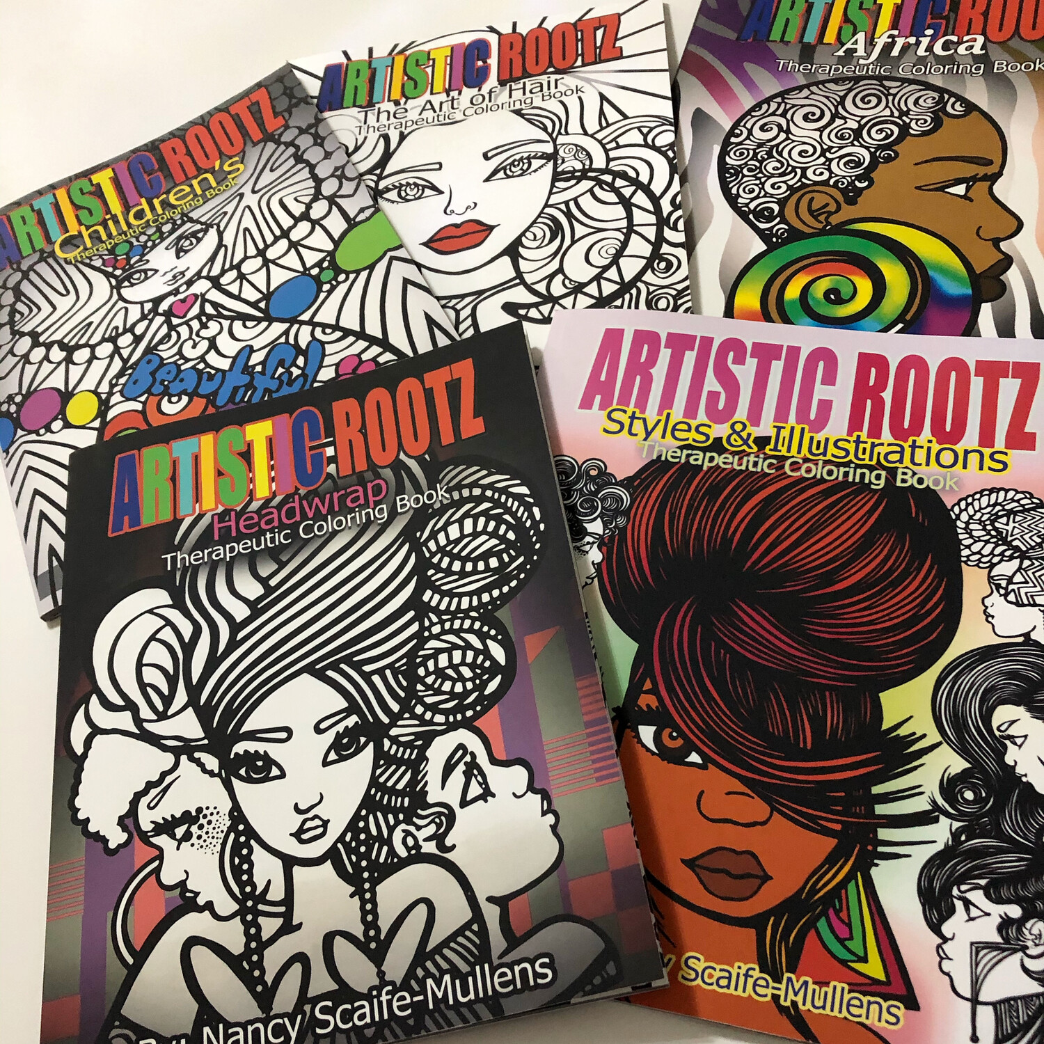 (Bundle) 5 Artistic Rootz Therapeutic Coloring Books