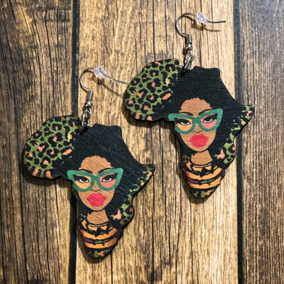 Fashion Fro Leafrica Wood Earrings