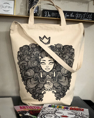 Crowned Curly Cutie XL Tote