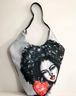 Afro Love  Xl Diamond Tote Bag