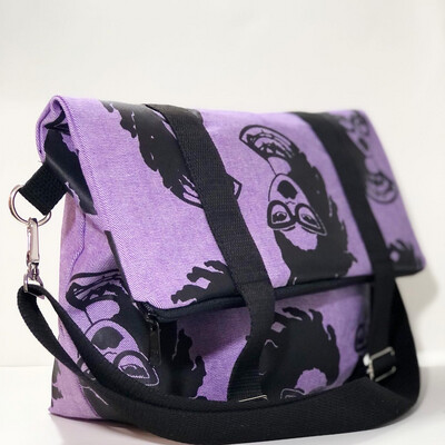 Fashion Locs Purple Denim Crossbody Clutch