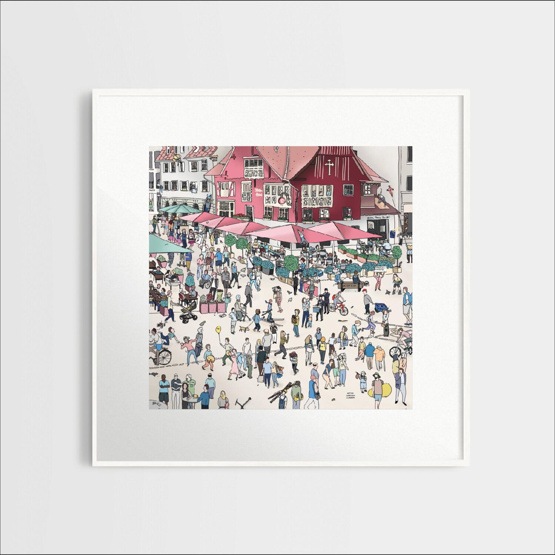 Stadt Wimmelbild (ohne Rahmen) |  Hartschaumplatte 300x300mm