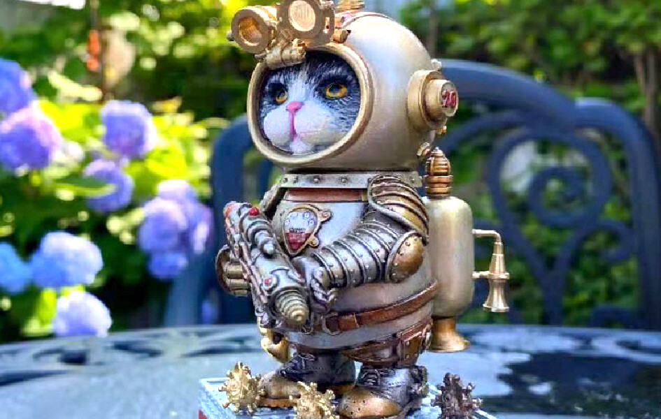 (PO) Steam Arts - Steampunk Crazy Cat Mr. Blue (Silver Basic)