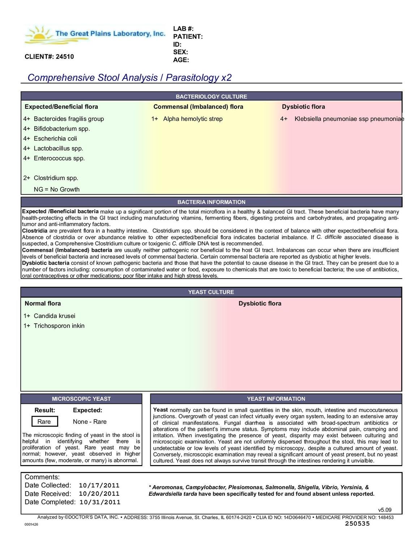 Comprehensive Digestive Stool Analysis w/Parasitology
