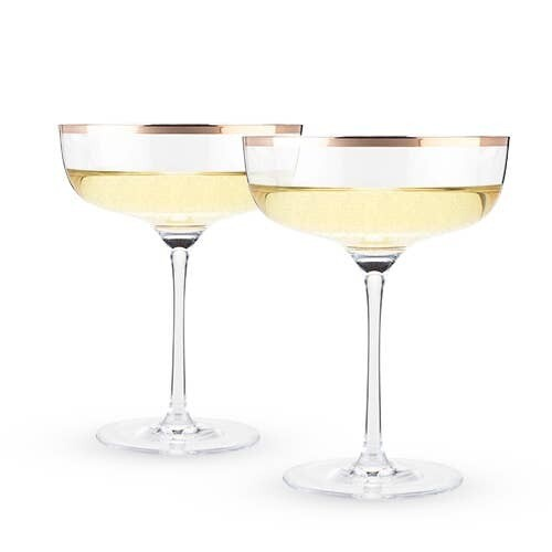 Twine - Copper Rim Crystal Coupe Set