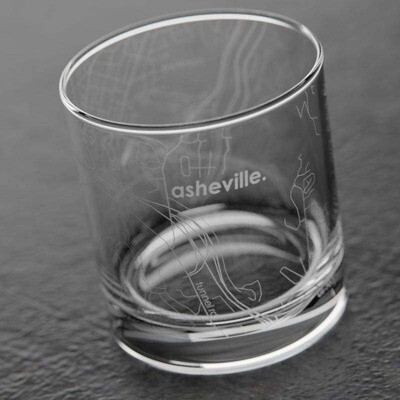 Well Told - Asheville NC Map Rocks Whiskey Glass