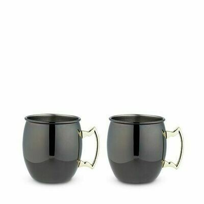 TRUE - Black Moscow Mule Mug with Gold Handle, 2 Pack, by True