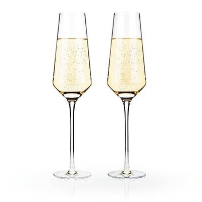 Viski - Raye Crystal Champagne Flutes by Viski