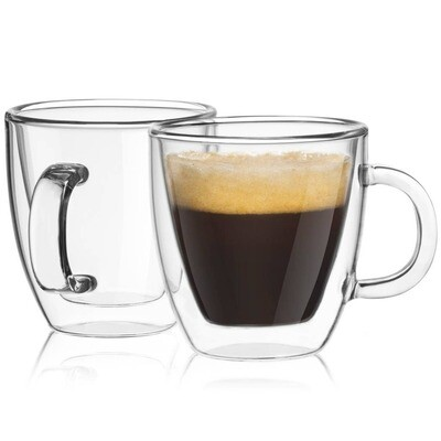 JoyJolt - Savor Double Wall Espresso Glasses, 5.4 oz Set of 2
