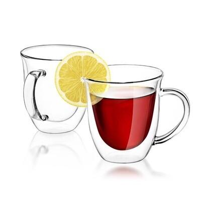 JoyJolt - Serene Double Wall Coffee/Tea Glasses, 7.4 Oz Set of 2