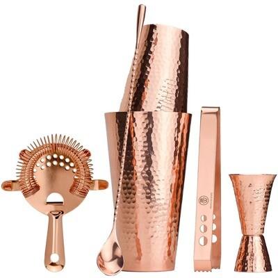 Bartender's Hammered Solid Copper Cocktail Shaker Set