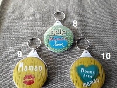 Badge porte-clefs miroir maman