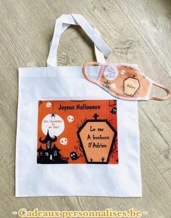 Kit tote bag et masque joyeux halloween