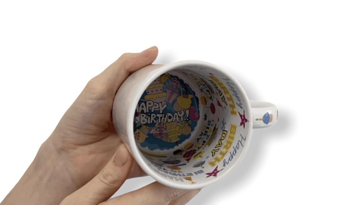 Mug Happy birthday personnalisé à l'intérieur