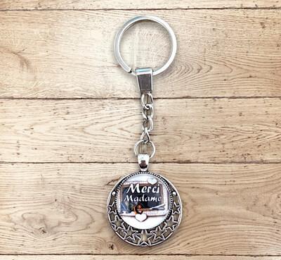 Porte-clefs cabochon merci madame