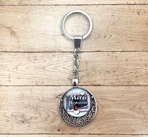 Porte-clefs cabochon merci monsieur