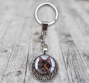 Porte-clefs cabochons chat avec nom