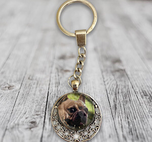 Porte-clefs cabochons chien avec nom