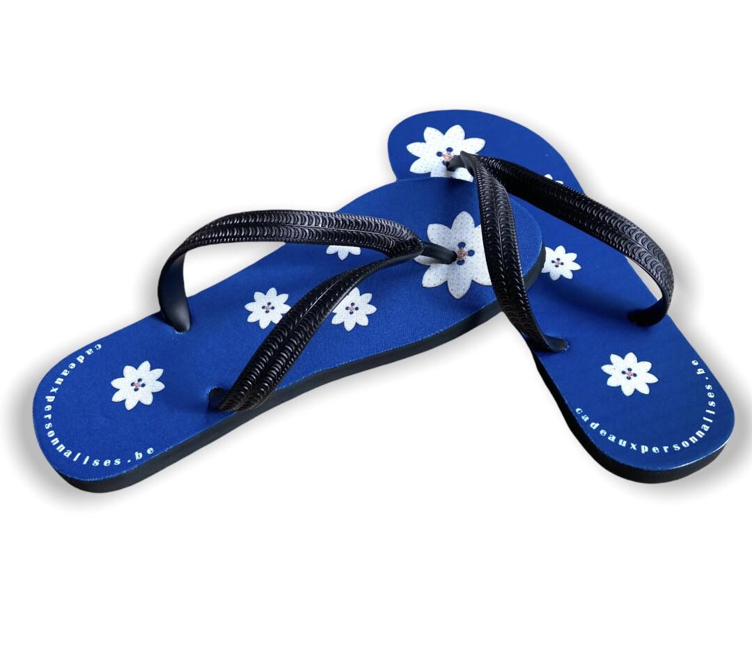 Tong fleuries bleue
