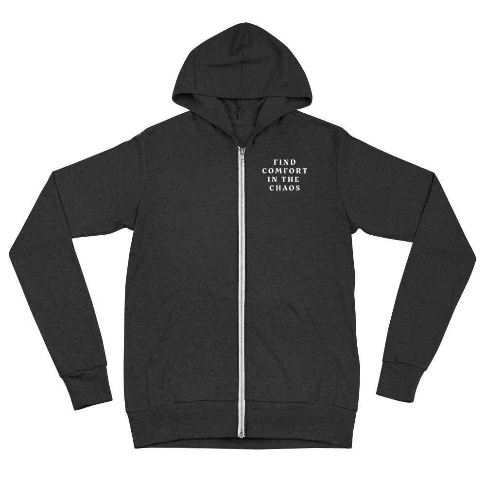 """Unisex Zip Hoodie with """"Chaos"""" Quote"""