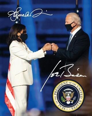 Joe Biden / Kamala Harris - Commemorative 8x10 w/ Facsimile Autographs