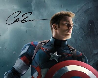Captain America 8x10 Photo w/ Chris Evans Facsimile Autograph