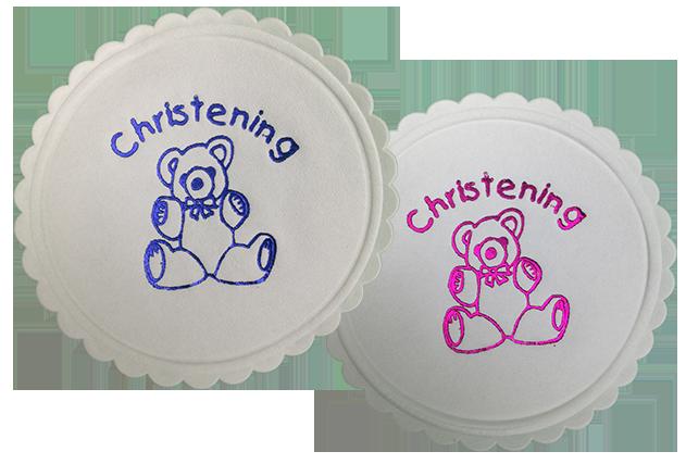 Christening Teddy Bear Coasters