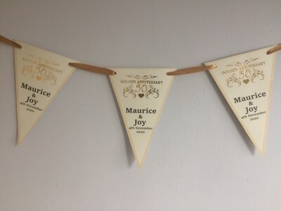 Golden 50th Wedding Anniversary Bunting