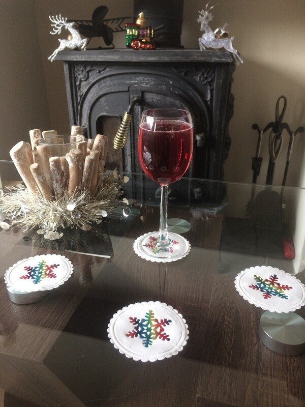 Christmas Rainbow Snow Flake Design Paper Coasters