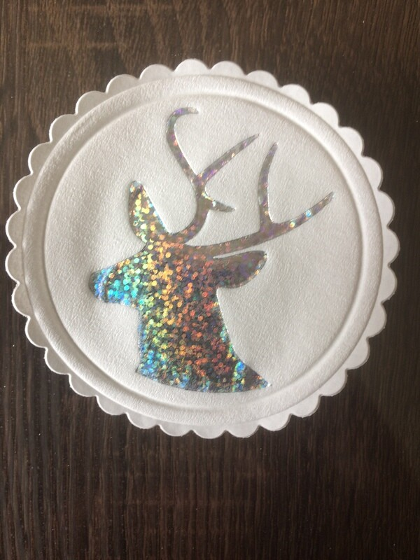 Christmas Stags Head Sparkling Design Paper Coasters