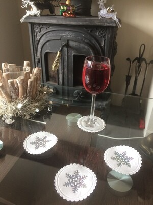Christmas Sparkling Snow Flake Design Paper Coasters
