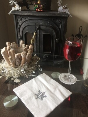 Christmas Sparkling Snowflake Design Napkins and Coasters