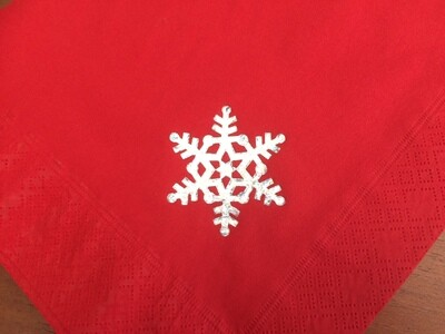 Red Dinner Napkins with Sparkling Silver Snowflake Design