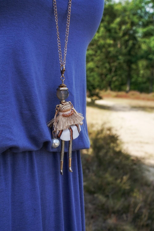 Lange fijne gouden halsketting met popjes - BIBIAN