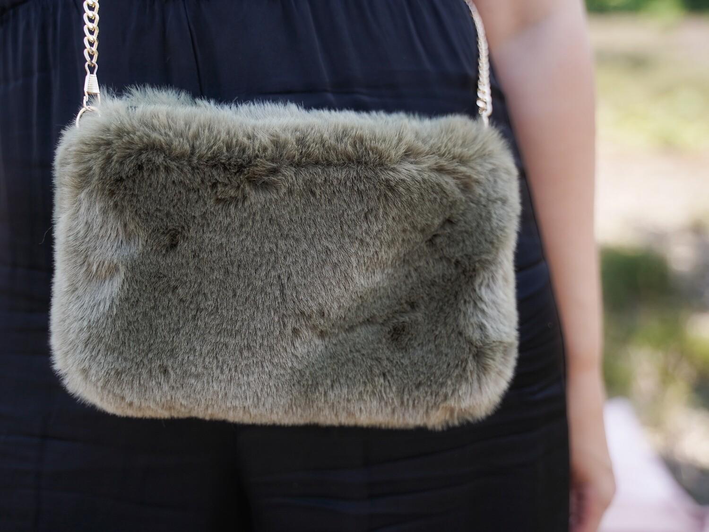 Handtas crossbody faux fur - ZEYNEP - kaki