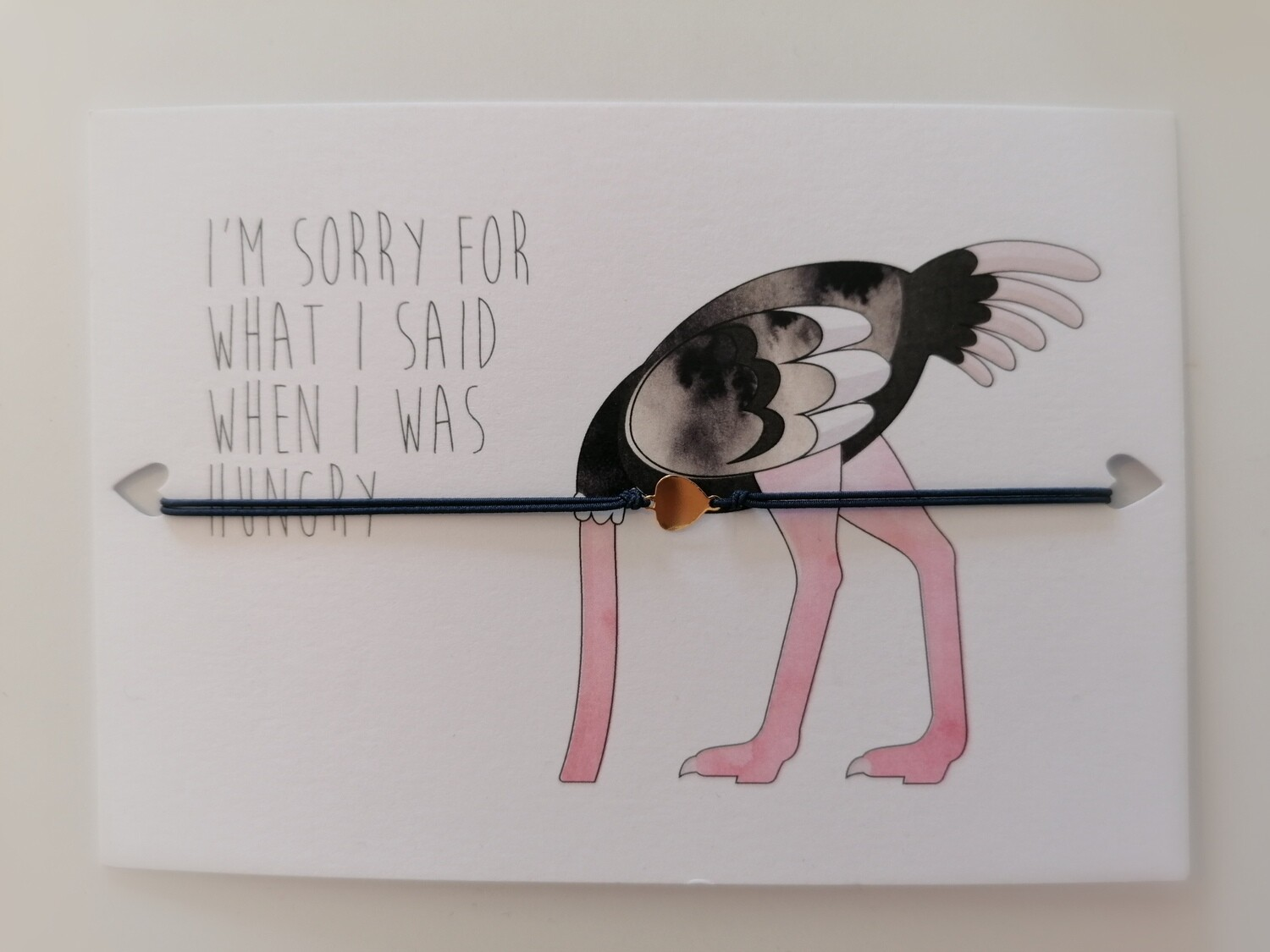 Wenskaart met armband - 'I'm sorry for what I said when I was hungry'