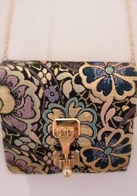*Handtas - avondtasje bloemetjes/goud - LINA