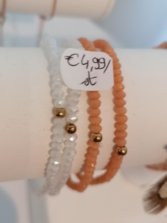 Armband - ELFIE - rekarmbandje met witte parels