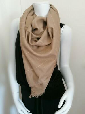 *Vierkante sjaal - FENG - donkerbeige met lurex