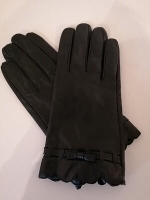*Handschoenen - zwart leder met strik - JOZEFIEN