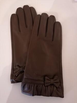 *Handschoenen - bruin leder met strik - RIXX