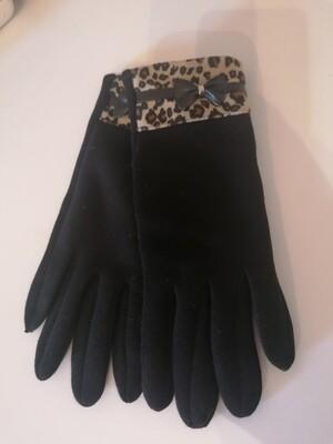 *Handschoenen - zwart met leopard boord en strikje - EVA