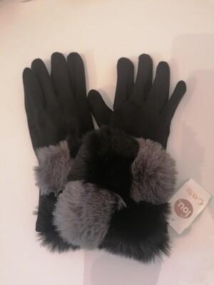 *Handschoenen - zwart met pels in grijs en zwart - LINE