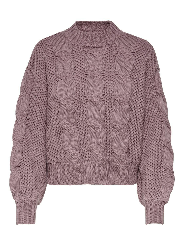 (*) Knitwear trui - JULIA - grof gebreide kabeltrui - oud roze